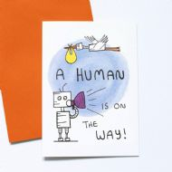 Debmon Design A Human is on the Way Card